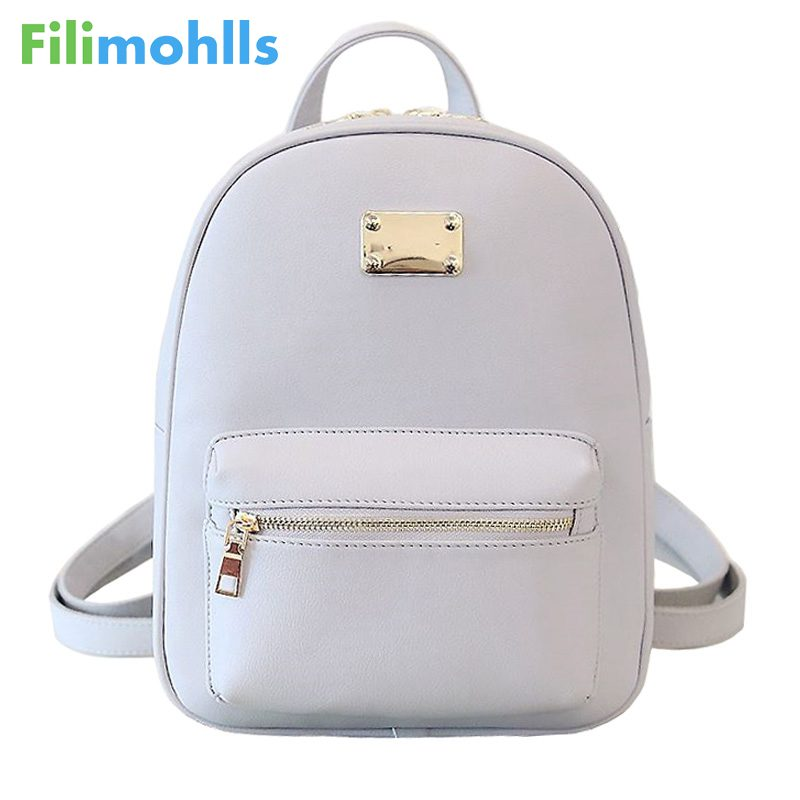 Fashion School Girls Bags Female Back Pack Famous Brand Women Backpack Small Size Black PU Leather Womens Backpacks S1545