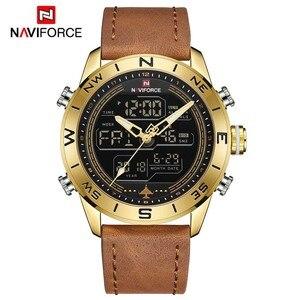 Image 5 - NAVIFORCE 9144 moda złoto mężczyźni Sport zegarki męskie LED zegarek analogowo cyfrowy armia skórzany wojskowy zegarek kwarcowy Relogio Masculino
