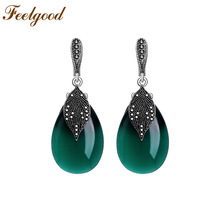 Feelgood Silver Color Vintage Smykker Black Rhinestone And Green Opal Natural Stone Drop Earrings For Women Wedding Party Gift