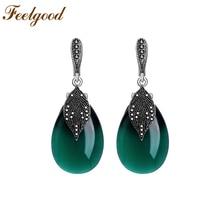 Feelgood Silver Color Vintage Jewelry Rhinestone Negro Y Verde Opal Piedra Natural Pendientes de Gota Para Las Mujeres Regalo Del Banquete de Boda