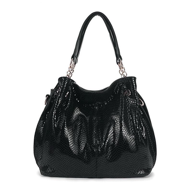 Premium Snake Skin Tote Bag Luxury Handbags Women Bags Designer Tassel Shiny Shopper Bag Genuine Leather Female bolso Black,Blue per se two tone snake skin pants