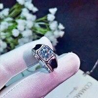 2ct карат муассанит Обручение кольца для Для мужчин 925 пробы серебряные кольца с платиновым покрытием D Цвет VVS1 ясности