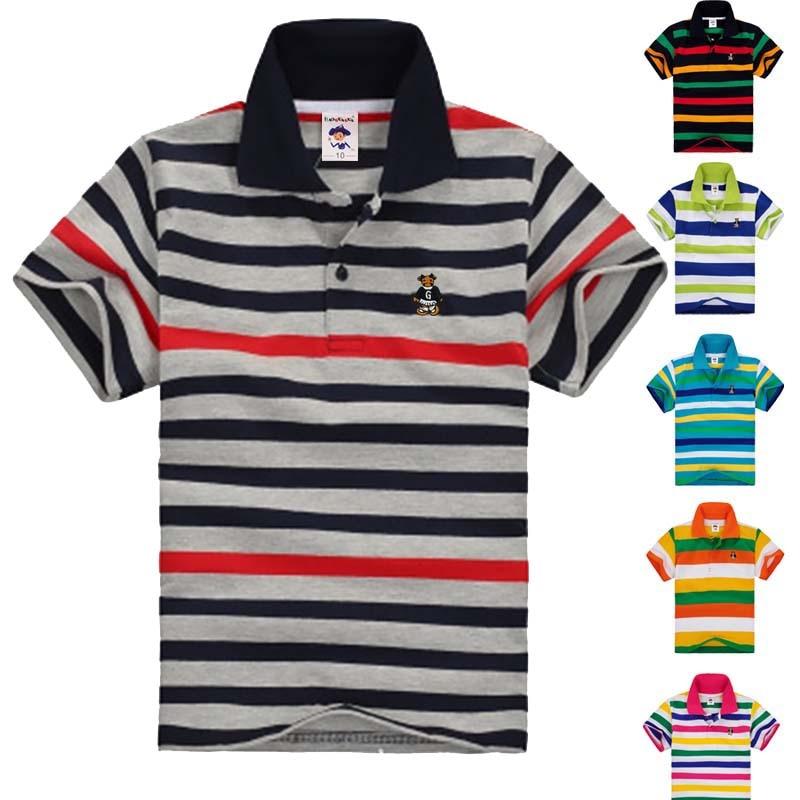 Top quality kids striped t shirts tops brand boys girls for Boys striped polo shirts