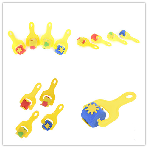 Random Color Paintbrush EVA Nursery Art Craft Paint Children Painting Graffiti Sponge Roller Brusher For Kid Drawing Supplies