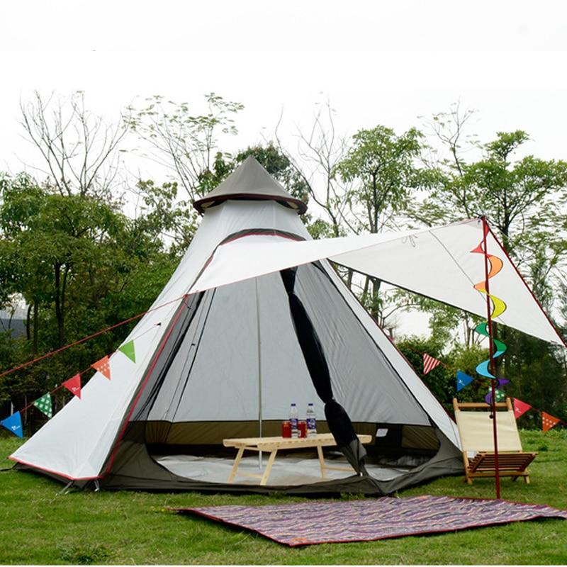Grande Tenda Da Campeggio 4 6 Persona Yurt Doppio Strato Con Zanzariera Giardino Esterno di Picnic Partito Pesca Tende Familiari Per turistico
