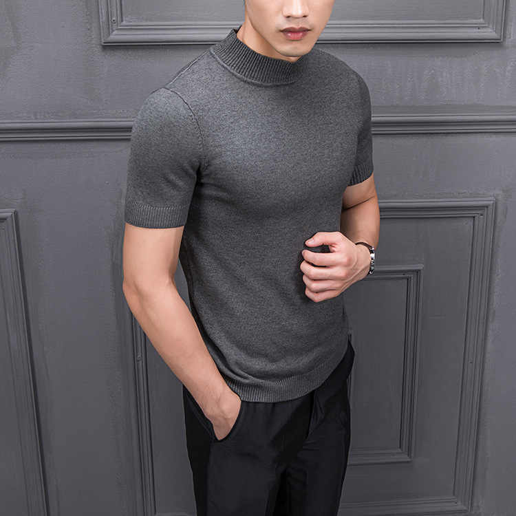 ブランド夏のファッションメンズセーター Tシャツスリムソリッドカラー O 襟ニットハーフ半袖 Tシャツニット男性プルオーバー 4XL