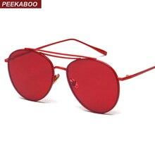 Peekaboo red lens sunglasses women brand designer metal frame 2017 blue male sun glasses for women yellow pink uv400