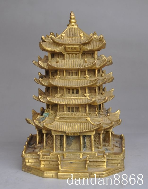 Artisanat statue chinois folk fengshui laiton jaune grue tour maison de ville pagode Baota statue Halloween