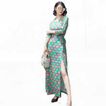 Women Polka Dot Print Maxi Dress 2017 Autumn Winter V Neck Long Wrap Dress Vestido De Festa 2017 New