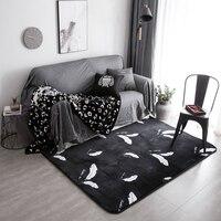 جديد لينة الفانيلا أسود اللون الريشة تصميم المطبوعة المضادة للانزلاق سجادة حصيرة السجاد ل غرفة المعيشة ديكور المنزل