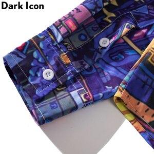 Image 3 - ダークアイコンターンダウン襟ヒップホップシャツプリント男性秋ストリートヒップスター長袖男のシャツ特大シャツ