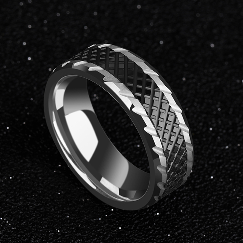 New Arrival Man's Engagement Rings 8mm Width Tungsten Carbide Band with Black High-Tech Ceramic Zigzag Groove Comfort Fit 7-10.5 mikado zigzag 1 7 г золото