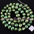 Free Shipping 5-7mm Natural Freeform Dark Green Freshwater Pearl Gem Stone For DIY Necklace Bracelat Jewelry Making Beads 14""