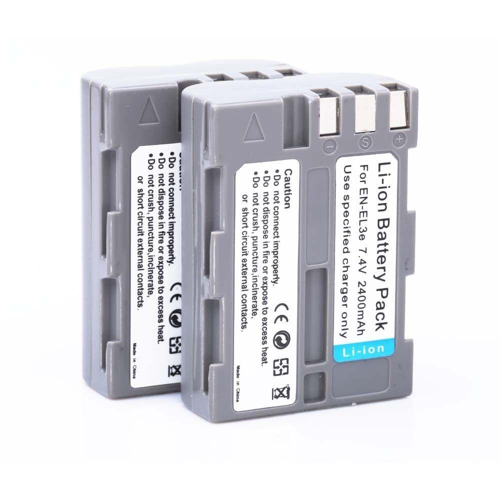 Prix pour 2 * EN-EL3e EL3e 2400 mAh Caméra Batterie Batteria AKKU ENEL3e Pour Nikon D70 D70S D80 D90 D100 D200 D300 D300S D700 caméra