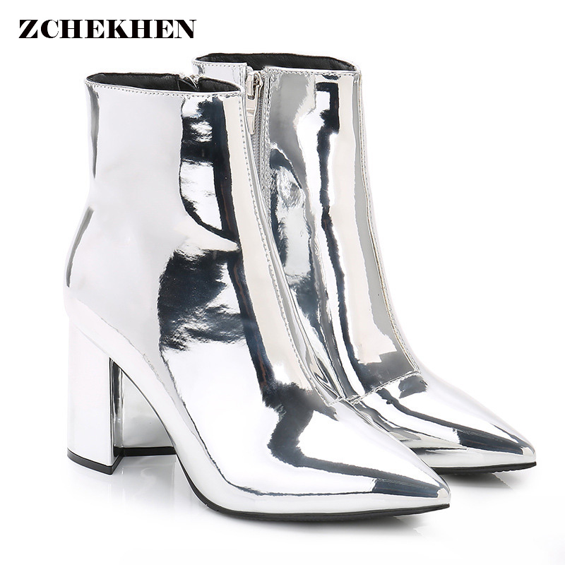 Fashion Mirror leather Party Pumps Sexy Pointed Toe ankle Boots Women Silver chunky High Heels boots INS hot High Heels women ankle boots platform chunky heels pointed toe black women high heels boots sexy laides party boots shoes heels