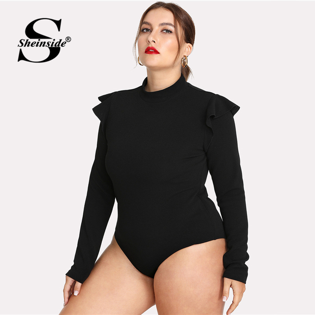7a7007eaa3b2 Sheinside Plus Size Plain Black Stand Collar Workwear Bodysuit Office  Ladies Long Sleeve Stretch Ruffle Women