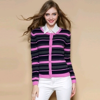 Women's 100% Pure Cashmere Cardigan Ladies Striped Goat Cashmere Cardigan Sweater Female O Neck Long Sleeve Cashmere