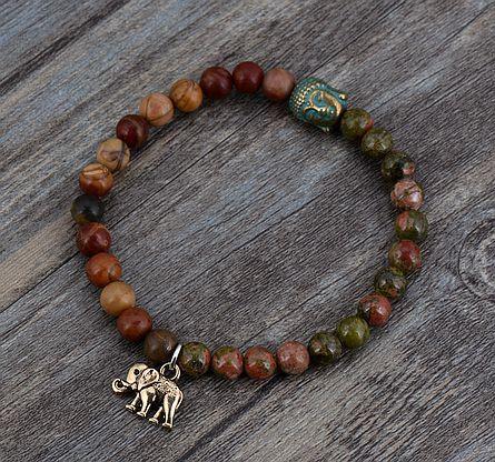 BoHo Batu Alam Gajah Buddha Pesona Peregangan Gelang Handmade Elastis Beaded Yoga Gelang Meditasi Yoga Perhiasan