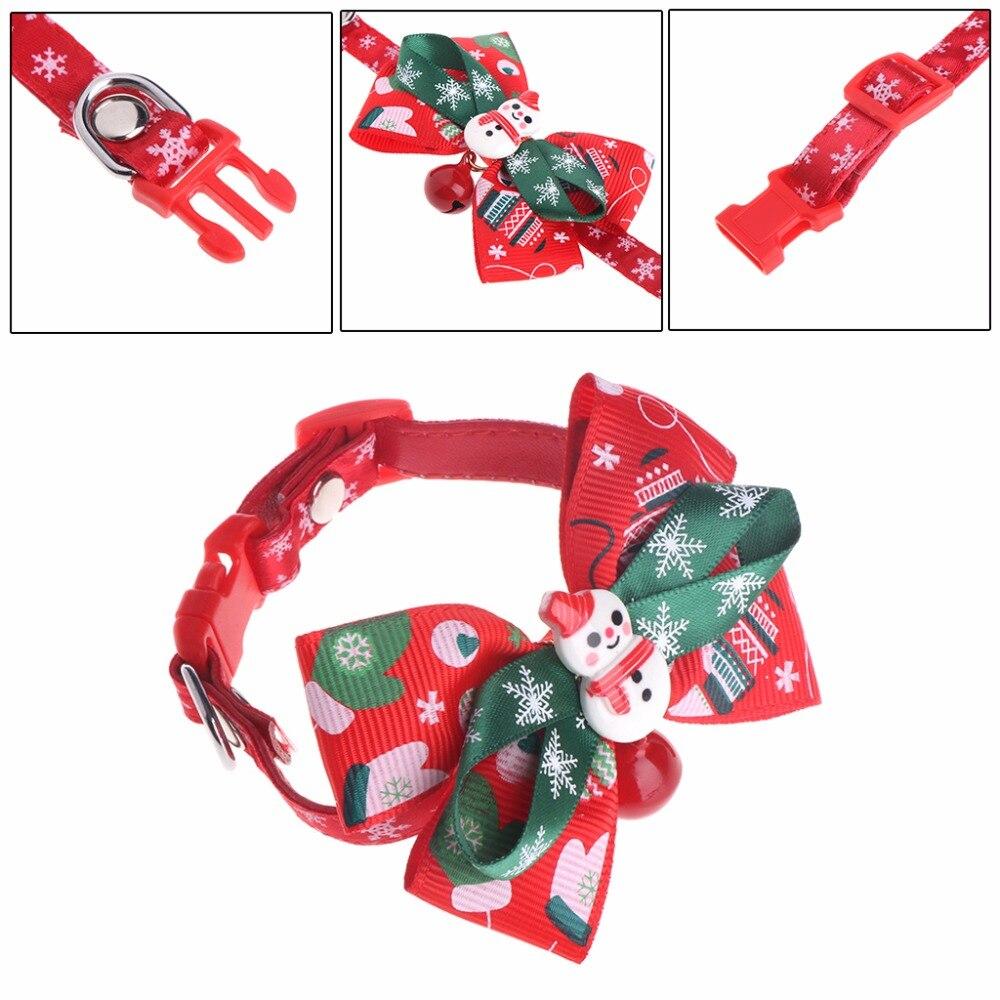 New Christmas Xmas Snowman Pet Dogs Cats Puppy Bell Bow Tie Adjustable Necktie Collar S/M/L/XL Pet Accessory C42