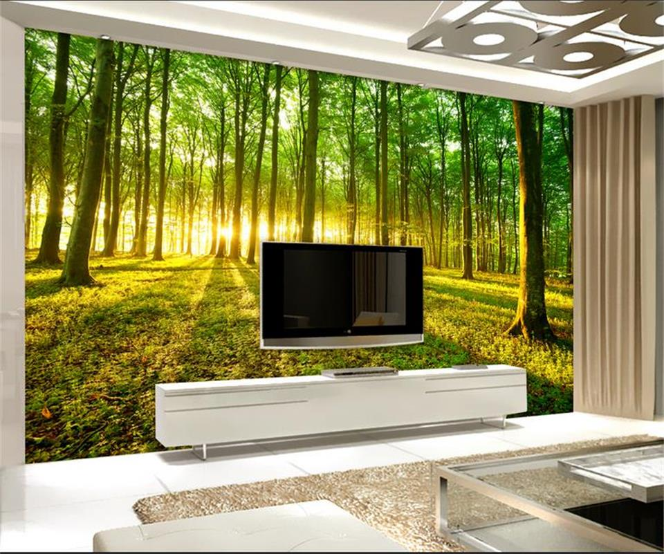 3d wallpaper custom photo wallpaper mural living room bed room nature sunshine forest painting sofa TV background wall sticker