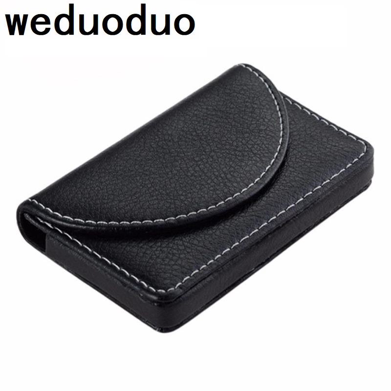 Weduoduo New Business ID Credit Card Holder For Women Men Fashion Brand Metal Aluminum Card Case PU Leather Card holder in Card ID Holders from Luggage Bags