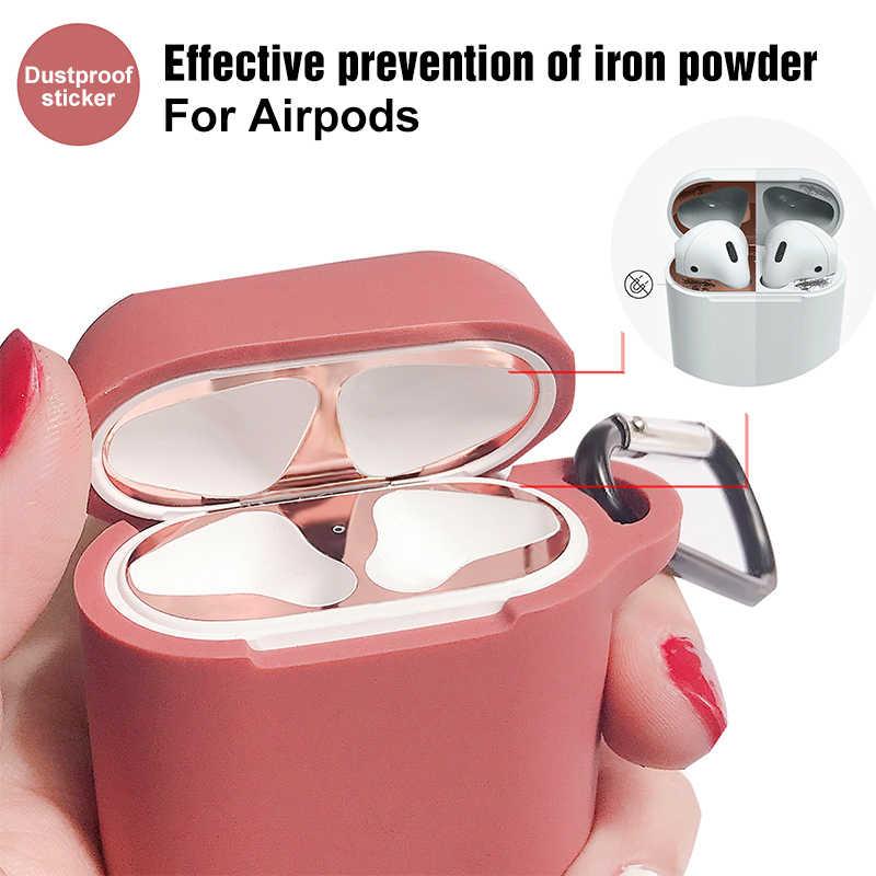 Metalowa osłona przeciwpyłowa naklejka na apple airpods skrzynki pokrywa pyłoszczelna naklejka ochronna pokrowiec ochronny ze skóry na akcesoria air pods