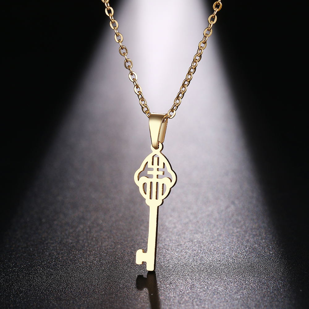 DOTIFI  Stainless Steel Necklace For Women Man Classical Pattern Key Gold And Silver Color Pendant Necklace Engagement Jewelry