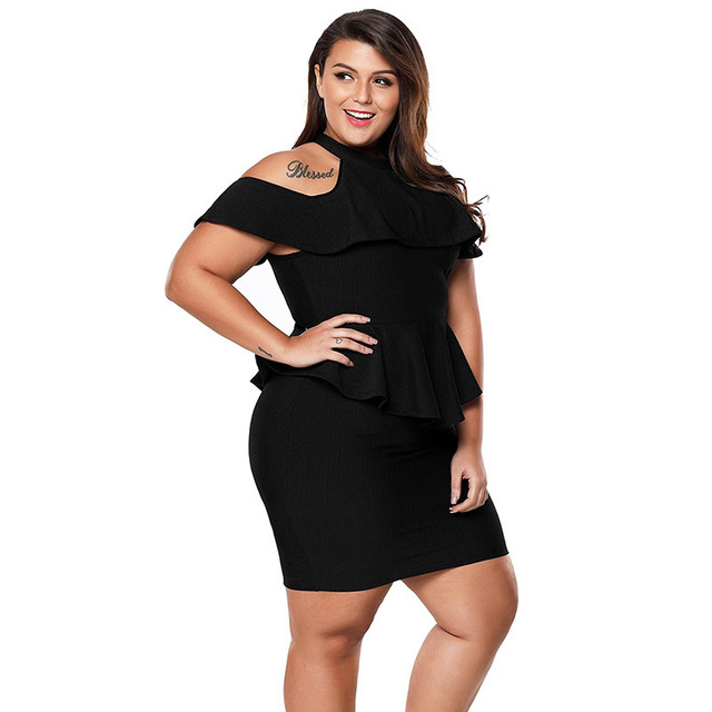 Cold shoulder black plus size peplum dress