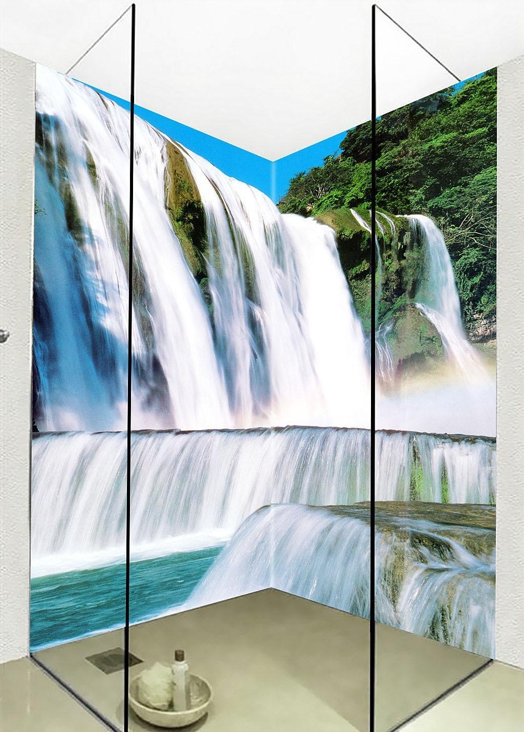 Large 3d Wall Stickers Waterfalls Shower Bathtub Art Wall