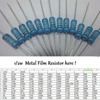 Free Shipping with tracking 500Pcs 1K 1/2W DIP Resistors Colored ring 1/2W 1K 1% Metal Film Resistor other value pls check page