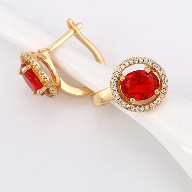 Espumosos Pendientes Rojos Mujeres Nobles Pendientes de Aro de Oro Amarillo Lleno Joyería de Halo