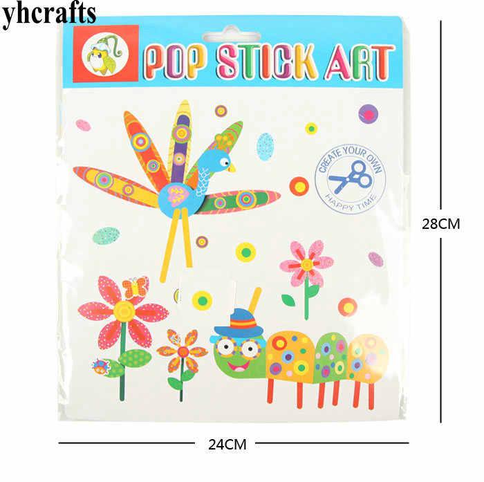3PCS/LOT 3 design choose Peacock flower bug pops crafts Paper craft kits  Early learning educational toys Kindergarten crafts
