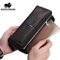 BISON DENIM Genuine Leather Long Zipper Wallet Large Capacity Phone Purse Male Luxury Brand Clutch Wallet
