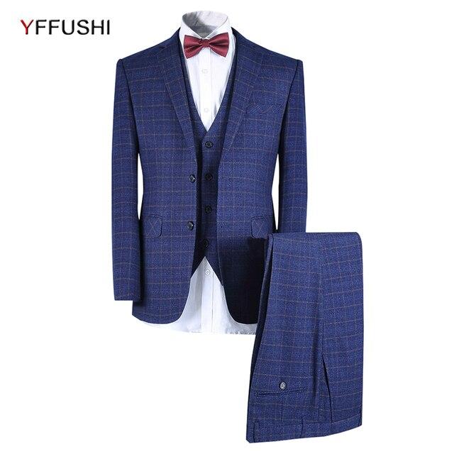 b2636f964 YFFUSHI 2018 trajes de boda para hombres un unidades botón 3 piezas trajes  de hombre Slim