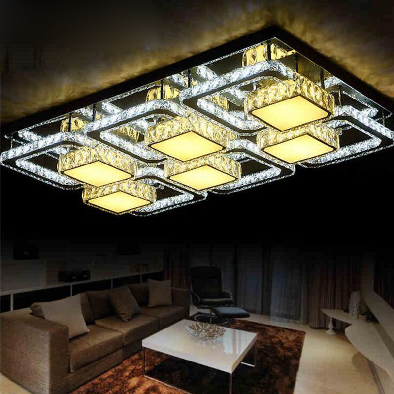Modern LED rectangular living room lamp K9 crystal ceiling lamp atmospheric creative living room lamps led lighting fixture lamp kzj 108p k9 rectangular prism