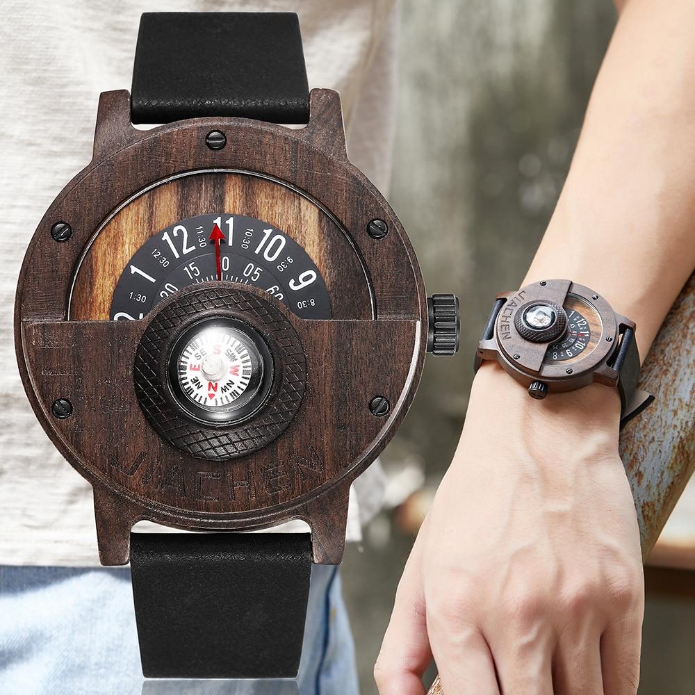 Kreative Herren Nussbaum Holz Uhr Männlichen Holz Leder Reale Natürliche Palisander Männer Armbanduhr männer Kompass Plattenspieler Armbanduhr