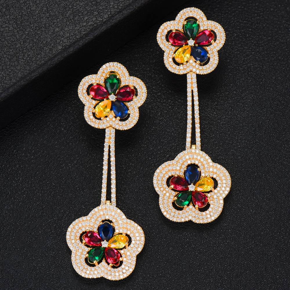 SisCathy Charms Multicolor Flower Dangle Earrings Trendy Cubic Zirconia Wedding Engagement Party Indian Gold for Women