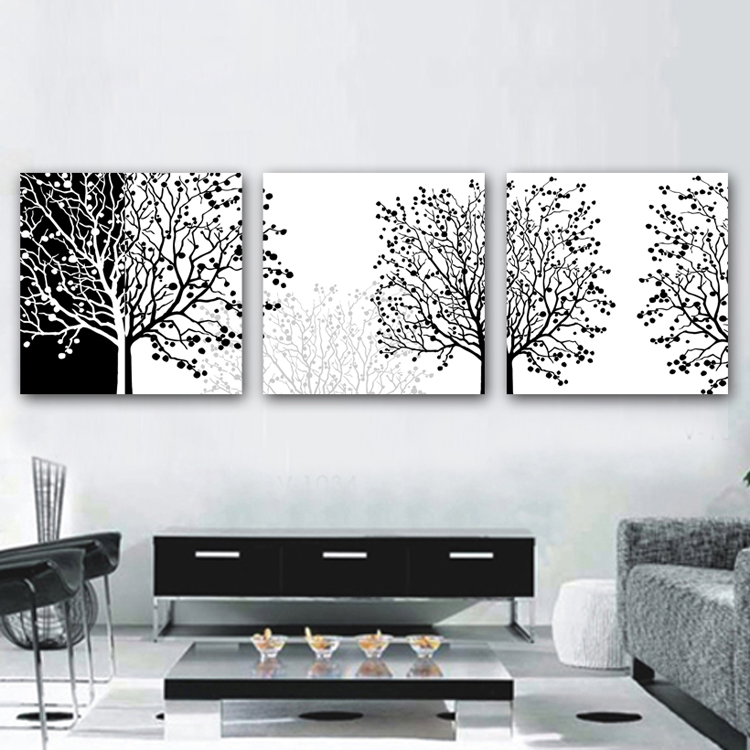 Framed 3 panel large painting canvas black white 3 piece canvas wall art interior decoration a1214 in painting calligraphy from home garden on