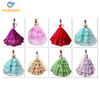 LeadingStar Simple Sexy Fashion Gorgeous Lace Embroidery Wedding Dress For Barbie Doll Clothes Style Color Random
