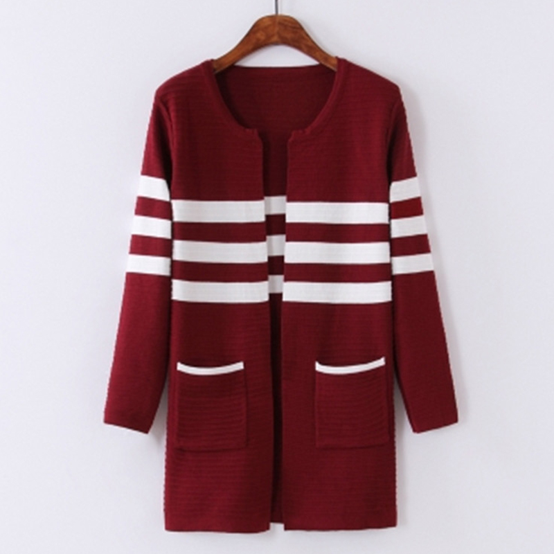 Spring/Autumn Women Sweater Cardigan Coat Jacket 2018New Fashion Striped Knit Tops Long  ...