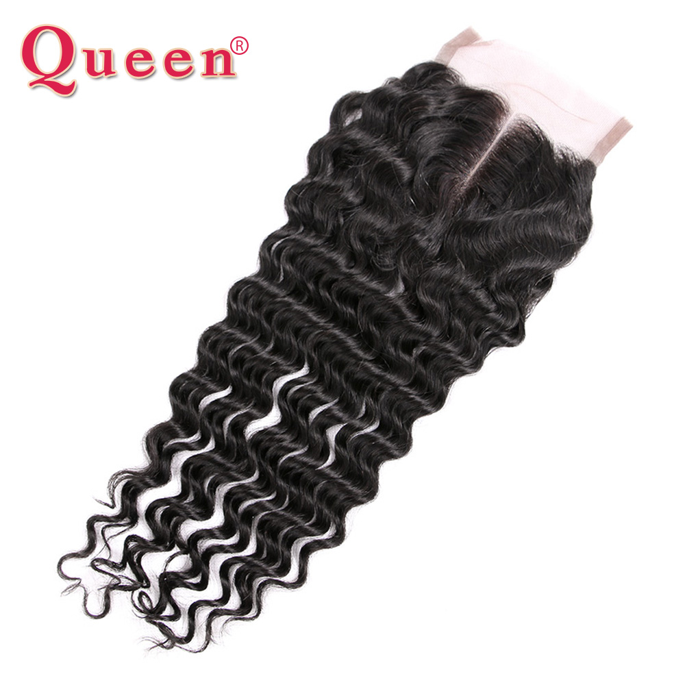 Queen Deep Wave Brazilian Human Hair Weave Middle Part Lace Closure With Baby Hair Mix 3 Bundles ForFull Head Remy Hair Closures