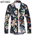 2017 spring autumn high quality Man Shirt Luxury Men Casual Dress Floral Shirts For Men plus size  7XL 6XL 3XL 4XL 5XL 5z