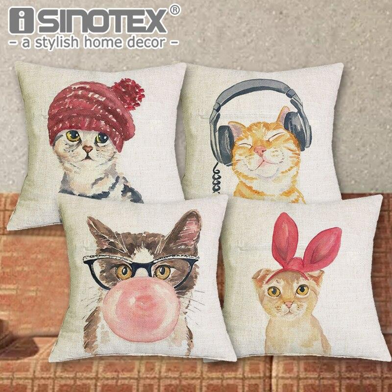 Cute Lovely Cat Decorative Cushion Cover Cotton Linen Square Throw Pillow Cover 43x43CM Pillow Case Home Office Car Sofa Decor