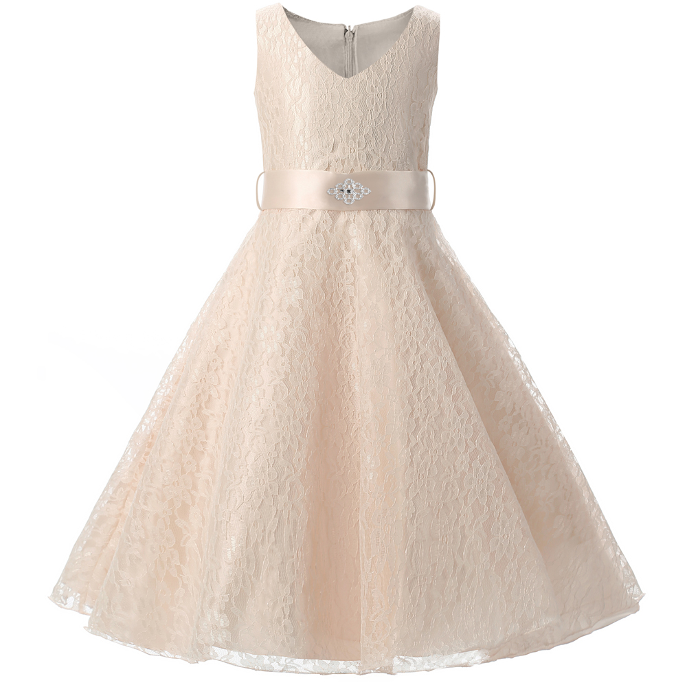 Teenage Girl Dress For Kids Wedding Ceremonies Party Wear Children Carnival Costume Princess Lace Girls Formal Communion Clothes day dress