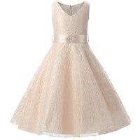 Teenage Girl Dress For Kids Wedding Ceremonies Party Wear Children Bridesmaid Dress Princess Lace Girls Formal
