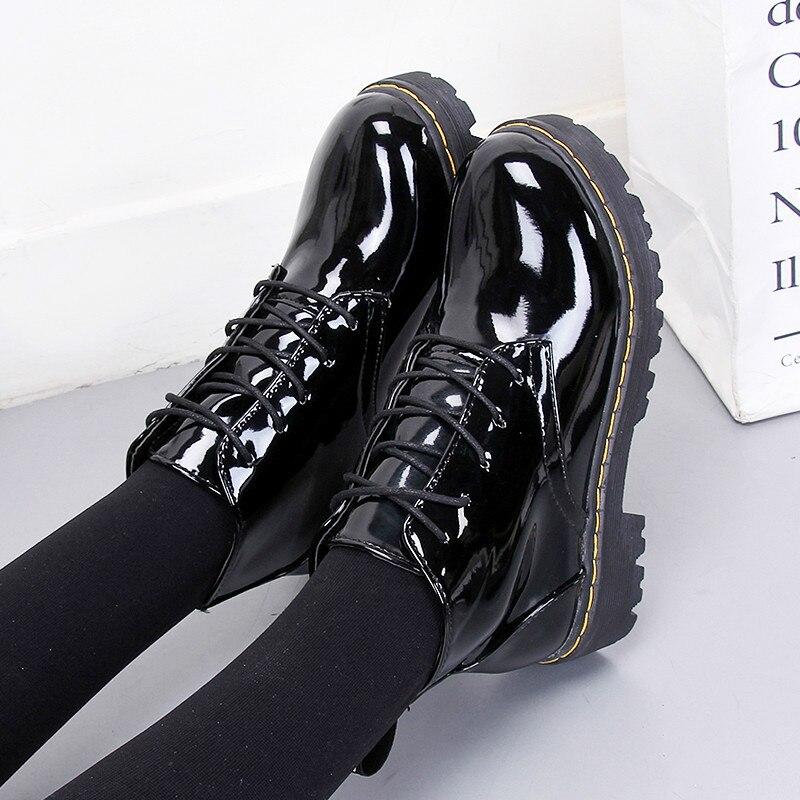 Black Shiny Japanese Lolita High-top Boots