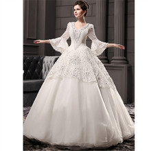 Islamic wedding dress white 2016 new vintage