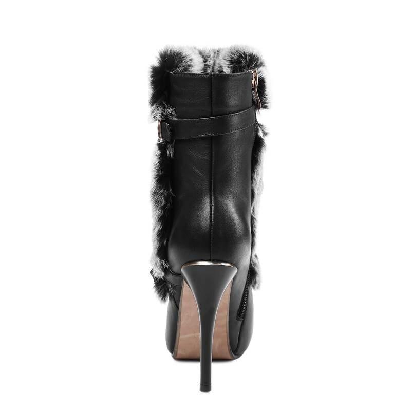 Mode Bottes Pour blanc Noir 2018 Femmes Pointu Cuir Bout Chaude Véritable Asumer Super Hiver Haute Cheville Zipper Talon De Fourrure En Aiguille nk08PwO
