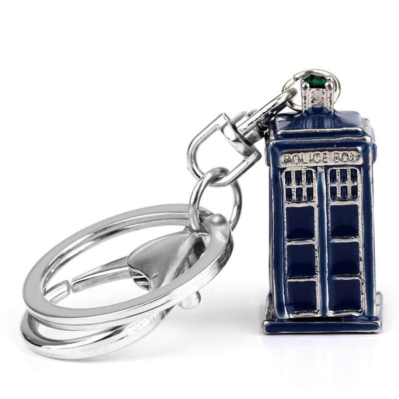 Anime Doctor Who llavero Metal Dr Who Tardis llaveros azules coche llaveros soporte joyería colgantes figura juguetes Chaveiro regalo