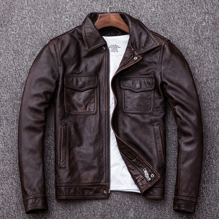 Free shipping.Brand classic men cowskin Jackets,mens genuine Leather jacket.casual business coat,plus size vintage clothingGenuine Leather Coats   -